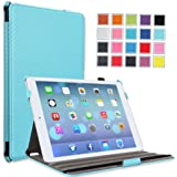 MoKo Apple iPad Air Case - Slim-Fit Case with Stand for iPad 5 / iPad Air (5th Gen) Tablet, Carbon Fiber Light BLUE (With Smart Cover Auto Wake / Sleep)