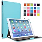 MoKo Apple iPad Air Cover Case - Slim-Fit Case with Stand for iPad Air / iPad 5 (5th Gen) Tablet, Carbon Fiber Light BLUE (With Smart Cover Auto Wake / Sleep)