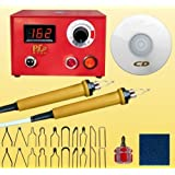 110V Multifunction Pyrography Machine Gourd Crafts Wood Burning Tool Kit Set with 20 Nib for Wood and Leather Pyrography (50W Digital Display) (Color: 50W Digital Display)