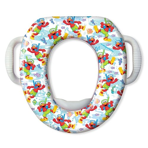 Sesame Street Scuba Elmo Seat - Padded, Soft and Durable - For Regular and Elongated Toilets - Removable Cushion for Easy Cleaning - Firm Grip Handles - Green and White
