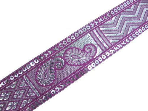 4.5 Yd Purple Jacquard Silver Woven Sequin Ribbon Trim Border