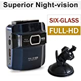 car dvr Full-HD 1920*1080 WDR Masasei Superior Quality Night Vision Mode Wide Angle dashcam Car Dashboard Camcorder with G-Sensor 6-Glass Lens included 8GB Micro SD