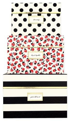 kate spade new york Nesting Boxes, Black Stripe