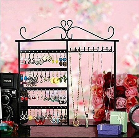 Adorox Earring Holder Jewelry Organizer Necklace Hanger Wall Stand Rack Black Classic Display (Jewelry Wall Rack compare prices)