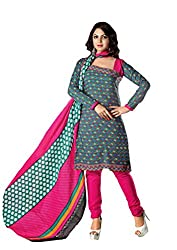 RUDRA FASHION WOMEN'S GREY & PINK COTTON SALWAR SUIT DRESS MATERIAL WITH COTTON DUPATTA.DS-2103