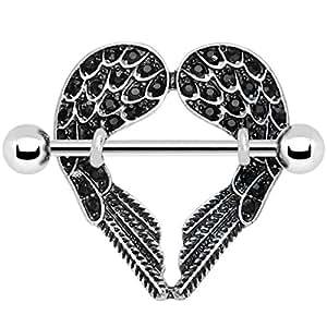 Black angel wings nipple shield body piercing for Angel wings nipple piercing jewelry