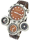 YouYouPifa Classy Double Movement 4 Dial Stainless Steel Case Leather Strap Quartz Watch (Brown)