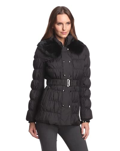 Via Spiga Women's Double Breasted Down Jacket With Rabbit Fur Collar
