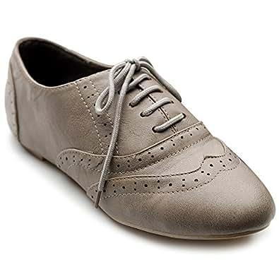 Ollio Women's Shoe Classic Lace Up Dress Low Flat Heel Oxford(5.5 B(M) US, Gray)