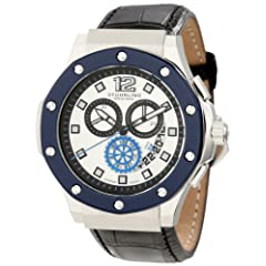 Stuhrling Original Men's 160F2.332U52 Special Reserve Apocalypse Trifecta Chronograph Date Silver Dial Blue Bezel Watch