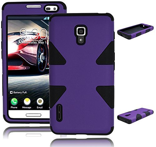 Bastex Heavy Duty Hybrid Case for LG Optimus F7 US780 - Black Silicone Gel Cover with Purple Hard Shell (Lg Optimus F7 Cases compare prices)