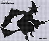 Witch on Broom 2 Cross Stitch Pattern