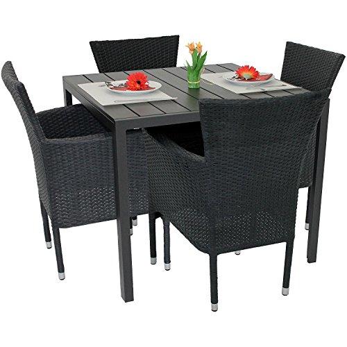5tlg-Gartengarnitur-Balkonmbel-Set-Polywood-Aluminium-Tisch-90x90cm-stapelbare-Polyrattan-Sessel-Alu-Rattansessel-Stapelstuhl-Terrassenmbel-Sitzgruppe-Sitzgarnitur-Gartenmbel-Bistrombel