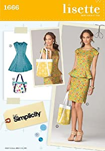 Simplicity 1666 Pattern (H5 Size 6-8-10-12-14) Misses Dress, and Bag