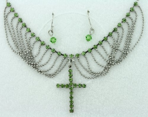 Unique Green Cross Chain Drop Necklace and Earrings Set