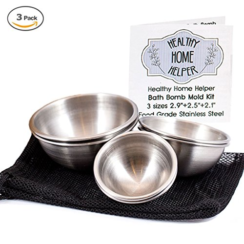 Stainless Steel Bath Bomb Molds Professional Kit: 3 Sizes DIY Homemade Round Sphere Fizzy Bombs in Large, Medium and Small Plus Mesh Bag, Instructions, and Recipe Ebook by Healthy Home Helper (Jewelry In The Dishwasher compare prices)