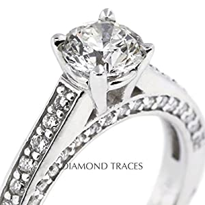3.79 Carat Round Natural Diamond AGI Certified D-IF Excellent Cut 14k White Gold 4-Prong Setting Accents Engagement Ring
