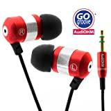 51DLFv5dsdL. SL160  GOgroove audiOHM Ergonomic Metallic Red Earbuds with Interchangeable Noise Reduction Silicon Ear Pieces (4 sizes)