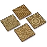 Japanese Stoneware Plate Set Includes 4 Plates Each with a Different Design, Sepia