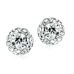 """VALENTINES DAY SPECIAL"" 925 Sterling Silver Round Clear Czech Crystal Pearl Like 360 Balls Stud Earrings by GL"