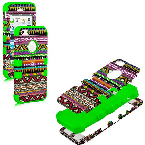 Mylife (Tm) Spring Green - Colorful Tribal Print Series (Neo Hypergrip Flex Gel) 3 Piece Case For Iphone 5/5S (5G) 5Th Generation Itouch Smartphone By Apple (External 2 Piece Fitted On Hard Rubberized Plates + Internal Soft Silicone Easy Grip Bumper Gel +