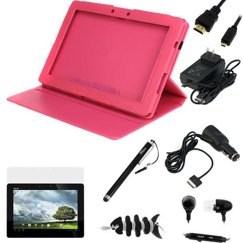 GTMax Black Plug Car Vehicle Power Charger + 2pcs Pink Leather Keyboard Portfolio Stand Case + Travel Charger + 3ft HSP HDMI Cable + Stylus + Microphone Handsfree + Headset Wrap for Asus Eee Pad Transformer Prime TF201 10.1-Inch Tablet