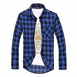 (ティースタイル) T-Style チェック 柄 コットン シャツ 長袖 メンズ トップス 赤 黒 (24.青×黒XL)