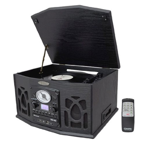 Pyle Home PTCDS5U Vintage Turntable with CD/Cassette/Radio/Aux-In/USB/SD/MP3 and Vinyl to MP3 Encoding(Black)
