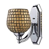 Elk Lighting 570-1N-GLD 1 Light Vanity In Satin Nickel And Gold Mosaic Glass