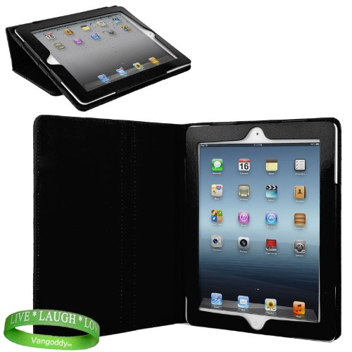 Black Padded iPad Skin Cover Case Stand with Screen Flap and Sleep Function for all Models of The New Apple iPad ( 3rd Generation, wifi , + AT&#038;T 4G , 16 GB , 32GB , 64 GB, MC707LL/A , MD328LL/A , MC705LL/A , MC706LL/A, MD329LL/A , MD368LL/A , MC756LL/A , MC744LL/A ect.. ) + Live * Laugh * Love Vangoddy Trademarked Wrist Band!!!