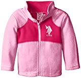 U.S. Polo Assn. Baby Girls Polar Fleece Jacket, Medium Pink/Fuchsia, 18 Months