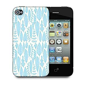 Snoogg Blue Leaves Designer Protective Phone Back Case Cover For Apple Iphone 4