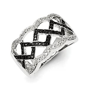 IceCarats Designer Jewelry Size 8 Sterling Silver Black And White Diamond Ring