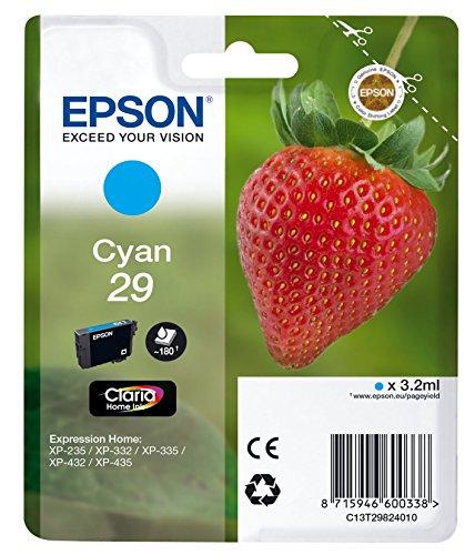Epson T2982 Tintenpatrone Erdbeere, Claria Home Tinte, Text- und Fotodruck (Singlepack) cyan