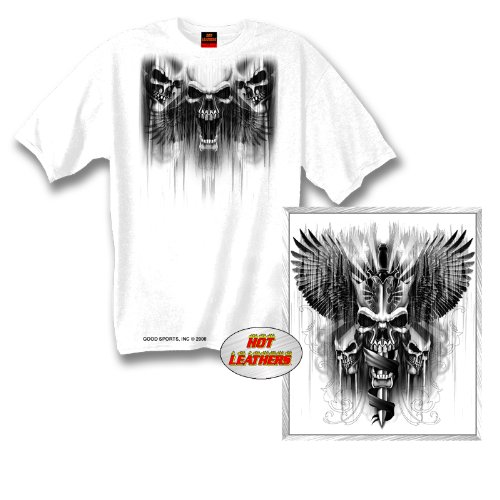 Hot Leathers Skull Dagger Double Sided Biker T-Shirt (White, X-Large)