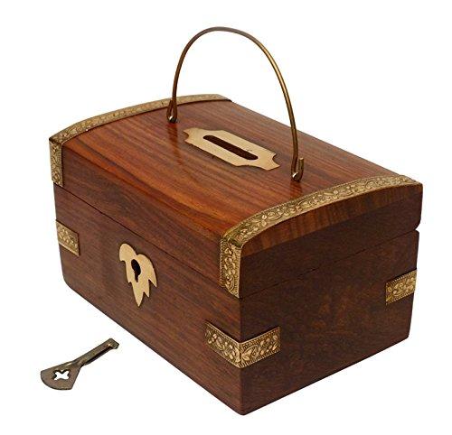 Diwali offer crafts 39 man handmade wooden money bank a for Handmade coin bank