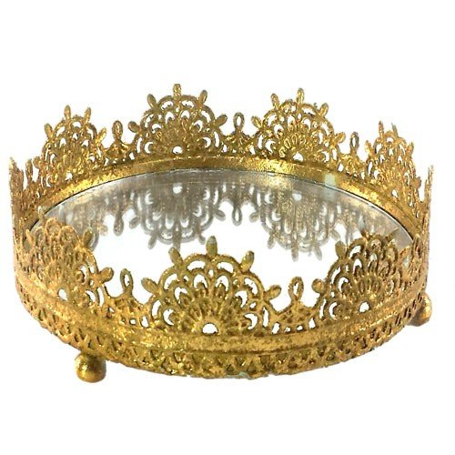 RETRO GOLD VANITY MIRROR TRAY 6.75