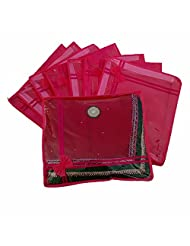 Kuber Industries Pink Non Woven Designer Saree Cover Set Of 12