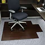 Anji Mountain AMB24006W Deluxe Bamboo Roll-Up Chairmat with Lip, Dark Cherry, 44 x 52-Inch