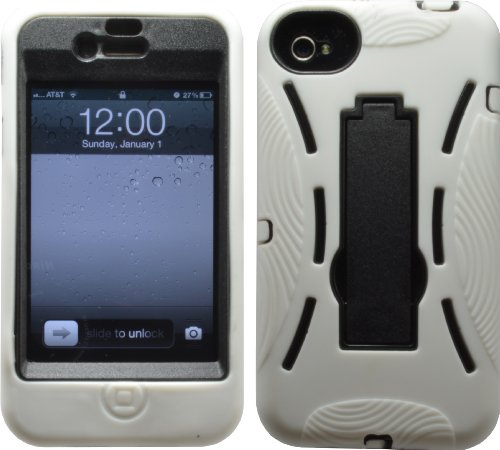 51DLZfqZXUL ^ BLACK SHOCK PROOF ARMORED DEFENDER CASE/COVER WITH STAND FOR IPHONE 4 4S 4G 4GS Deals
