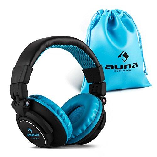 Auna-Base-Over-Ear-DJ-Kopfhrer-moderne-bequeme-weich-gepolsterte-Hifi-Ohrhrer-Kabel-austauschbar-abnehmbar-15Hz-22kHz-geschlossen-klappbar-blau-schwarz