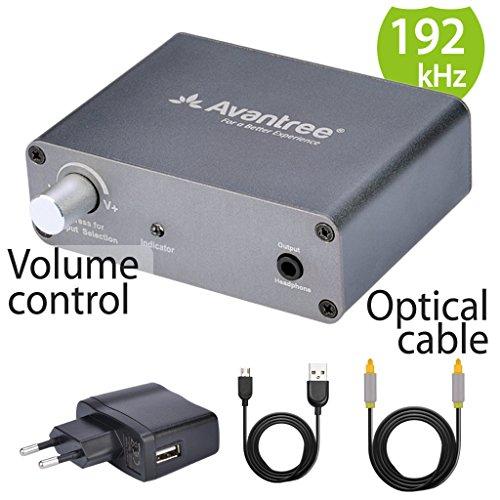 Avantree DAC Adaptador Conversor de Audio de Digital a Analógico con Fibra Óptica de 2 metros y Control de Volúmen, de fibra óptica de TV/Coaxial a Auriculares o Altavoces