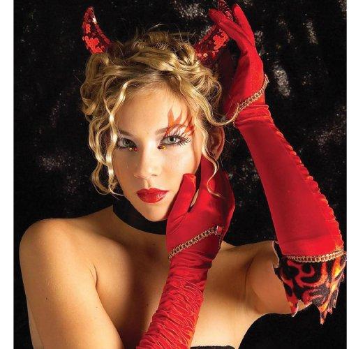 長いセクシーなサテンの悪魔の手袋♪ハロウィン♪サイズ:One Size
