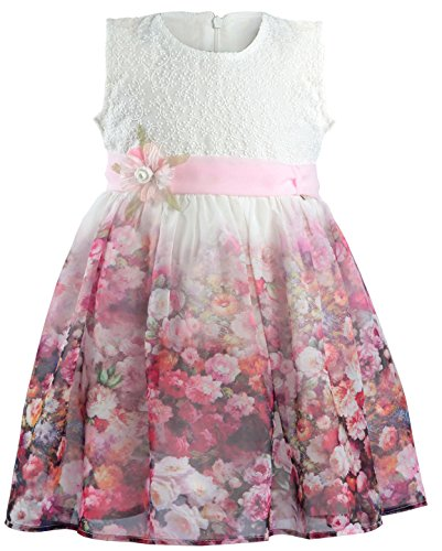 Lilax Little Girls' Colorful Flower Print Dress (7, Pink)