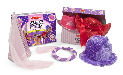 Melissa & Doug Terrific 5 Toppers Dress-Up Hats, Pink/Purple/Red, Ages 3-6 front-114268
