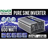 PowerTech ON Advanced Technology PURE SINE WAVE Inverter 600W Continuous/1200W Surge, 12V DC to 120V AC w/ Battery Clips, USB port 5V, 5 kinds of Protection Systems & 3 Output Sockets - PS1001