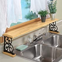 Double Sink Wood And Cast Iron Shelf