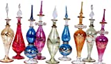 LOT / Set of 10 Mouth blown EGYPTIAN PERFUME BOTTLES Pyrex Glass Height 4inch ( 12 cm)