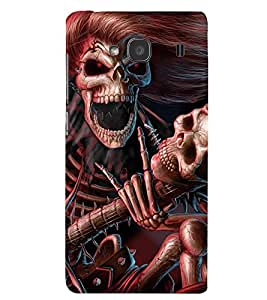 Printvisa Premium Back Cover Skeleton Playing A Scary Guitar Design For Xiaomi Redmi 2S::Xiaomi Redmi 2::Xiaomi Redmi 2 Prime