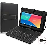 Contixo 10.1'' Tablet Folio Keyboard with Stand Universal PU Leather Case for Contixo LR102/Q102/Q103 Tablet and more 10.1'' or 10'' Tablets